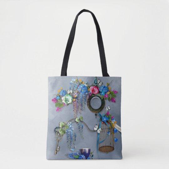 Vintage Memories wisteria bird cage cobalt blue Tote Bag