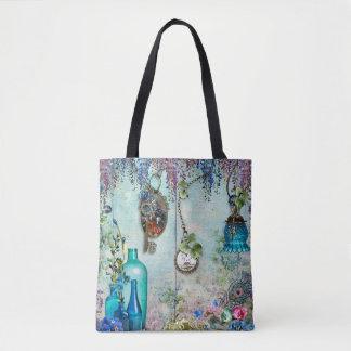 Vintage Memories Wisteria lavender cobalt blue key Tote Bag