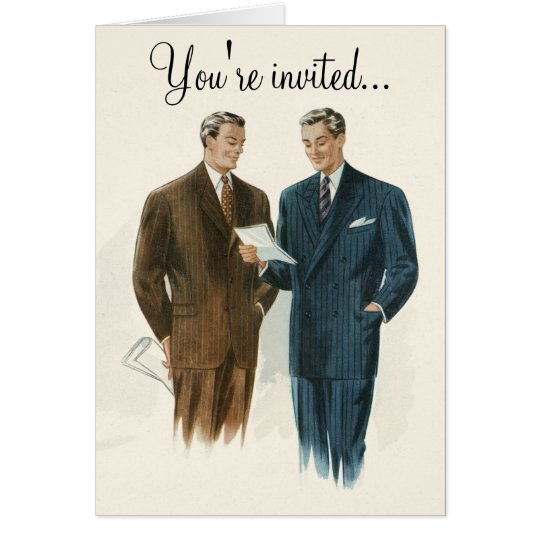 Vintage men's fashion invitation or greeting card
