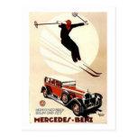 Vintage Mercedes Benz Ski Ad Postcard