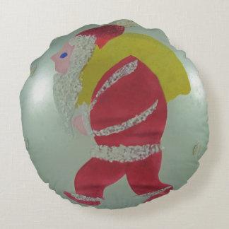 Vintage Mercury Glass Christmas Ball Santa Round Pillow