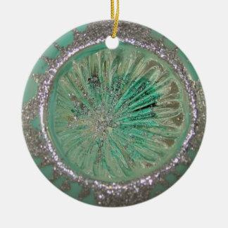 Vintage Mercury Glass Christmas Teal Ice Indent Round Ceramic Ornament