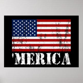 Vintage 'MERICA U.S. Flag Poster (medium)
