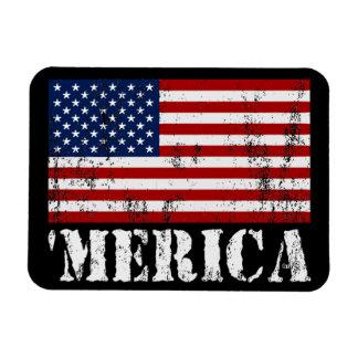 Vintage 'MERICA US Flag Patriotic Premium Magnet Magnet