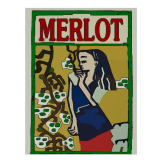 Vintage Merlot Wine Poster