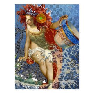 Vintage Mermaid Aquarius Gothic Whimsical Woman Postcard