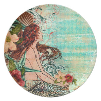 Vintage Mermaid By the Seashore Plate