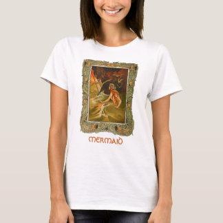 Vintage mermaid framed art illustration tshirt