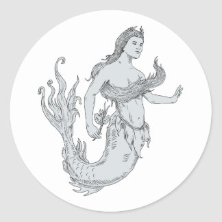 Vintage Mermaid Holding Flower Drawing Classic Round Sticker