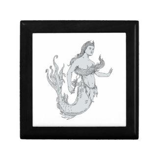 Vintage Mermaid Holding Flower Drawing Gift Box
