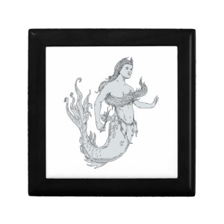Vintage Mermaid Holding Flower Drawing Gift Boxes