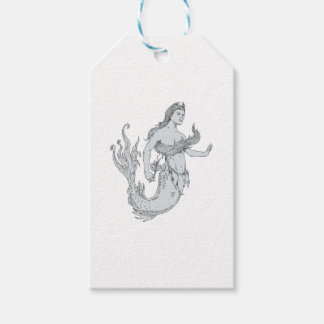 Vintage Mermaid Holding Flower Drawing Gift Tags
