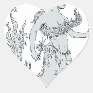 Vintage Mermaid Holding Flower Drawing Heart Sticker
