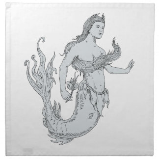 Vintage Mermaid Holding Flower Drawing Napkin