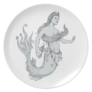 Vintage Mermaid Holding Flower Drawing Plate