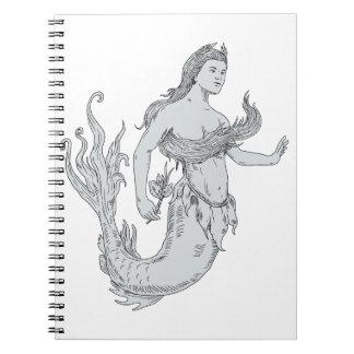 Vintage Mermaid Holding Flower Drawing Spiral Notebook
