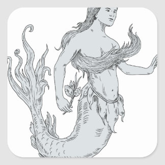Vintage Mermaid Holding Flower Drawing Square Sticker