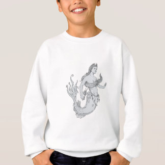 Vintage Mermaid Holding Flower Drawing Sweatshirt