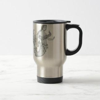 Vintage Mermaid Holding Flower Drawing Travel Mug
