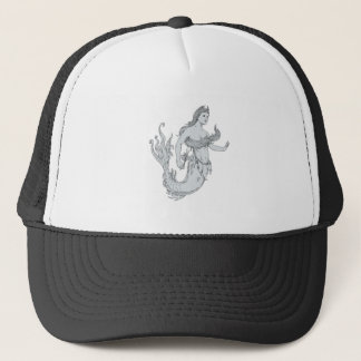 Vintage Mermaid Holding Flower Drawing Trucker Hat