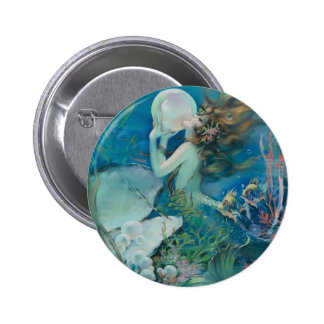 Vintage Mermaid Holding Pearl 2 Inch Round Button