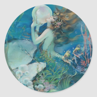 Vintage Mermaid Holding Pearl Classic Round Sticker