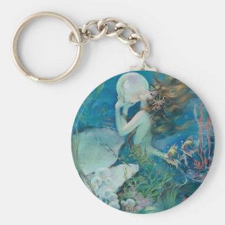 Vintage Mermaid Holding Pearl Keychain