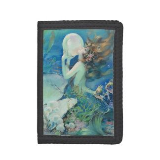 Vintage Mermaid w Pearl Nautical Ocean Nautical Tri-fold Wallets