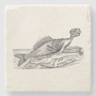 Vintage Merman Mermaid Sea Creature Monster Retro Stone Beverage Coaster