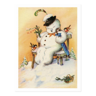 """VINTAGE """"MERRIE HOT CHOCOLATE"""" NAPPING SNOWMAN POSTCARD"""