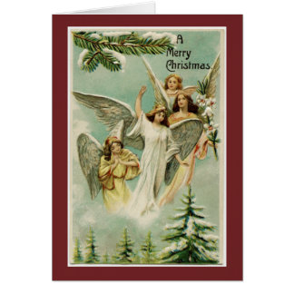 Vintage Merry Christmas Angels Card