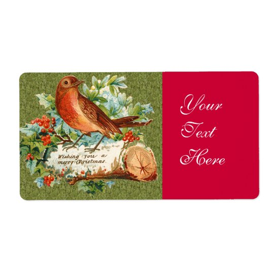 Vintage Merry Christmas Bird on Log with holly Shipping Label