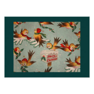 Vintage Merry Christmas Birds Invites