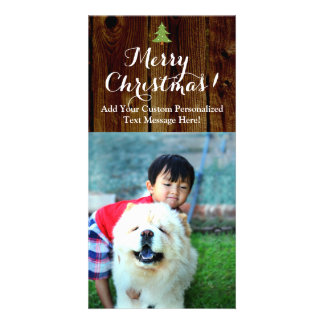 Vintage Merry Christmas Country Planks Vertical Card