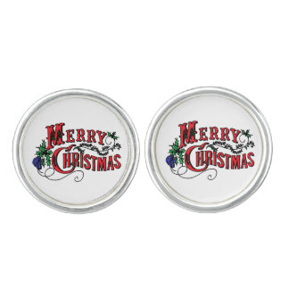 Vintage Merry Christmas Cuff Links