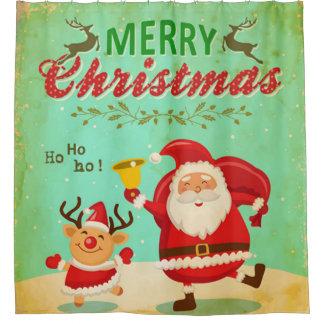 Vintage Merry Christmas Dancing Santa and Reindeer