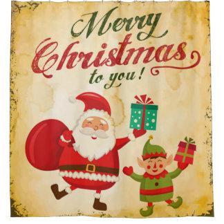 Vintage Merry Christmas Daning Santa and Elf