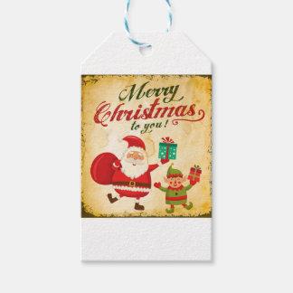 Vintage Merry Christmas Daning Santa and Elf Gift Tags