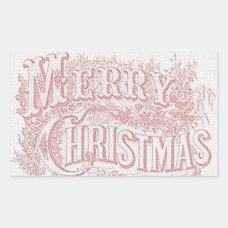 Vintage Merry Christmas Elegant Red Tapestry Sticker