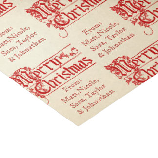 Vintage Merry Christmas From Personalize It Custom Tissue Paper