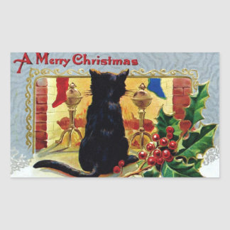 Vintage Merry Christmas Kitten Fireplace Holly Sticker