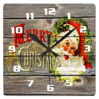 Vintage Merry Christmas & Santa on Rustic old Wood Square Wall Clock