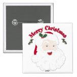 Vintage Merry Christmas Santa Pinback Button