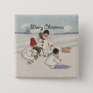 Vintage Merry Christmas Snow Children Art Print 2 Inch Square Button
