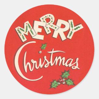 Vintage Merry Christmas Sticker