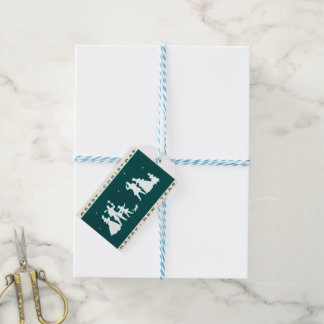 Vintage Merry Christmas with Blue Background Gift Tags