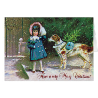 VintagE Merry Christmas with Girl Dog Card