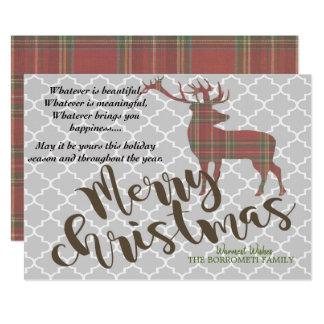 Vintage Merry Christmas With Plaid Deer Card