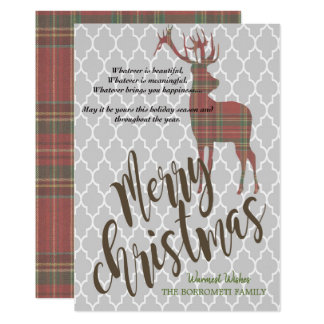 Vintage Merry Christmas With Plaid Deer Card