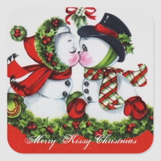 Vintage Merry Kissy Christmas Square Sticker
